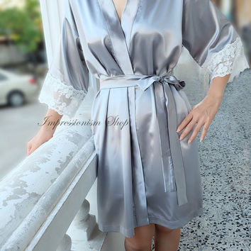 Grey Satin Lace Robe for Bride, Lingerie, Getting Ready, Bridal Gift, Bachelorette party Gift, Honeymoon, Lace Kimono, Wedding Gift, I do