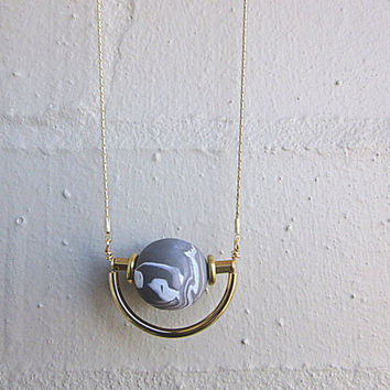 NL-209 Grey and White Marble Vein Round Clay Bead with Brass Disc and Tube and Gold Curved Tube Pendant in 16K Gold Plated Brass Chain