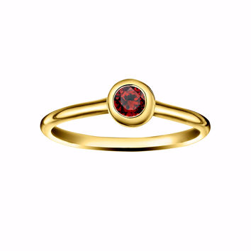 Crescent Moon Stacking Birthstone Rings - Gold Vermeil