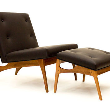 Center City Lounge Chair and Ottoman- Modern Mahogany Lounge Chair w/ Black Leather Upholstery