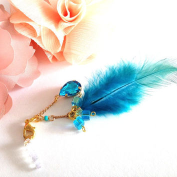 Ocean Blue Rhinestone and Feather phone plug charm mobile accessories