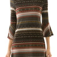 Print Bell Sleeve Knit Dress