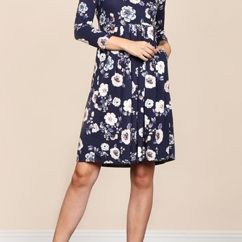 Floral Empire Waist Pleated Pocket Dress