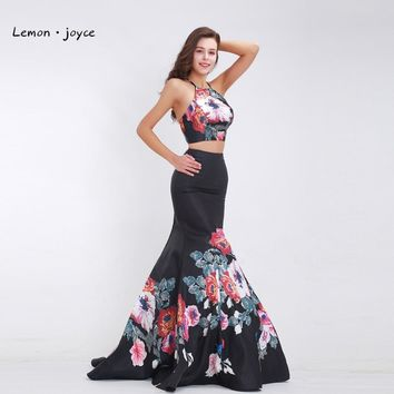 Two Piece Prom Dresses Halter Sexy Backless Pattern Mermaid Long Elegant Special Occasion Dresses Party Gowns 2017 Black Stain