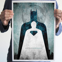 Digital print comics batman superman geek art poster frame decor geeky superhero dark knight movie poster man of steel