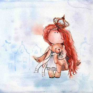 Red-haired Little girl with teddy bear Watercolor Print Painting - Poster Giclee wall print - Home Wall decor - Baby nursery print Kids room