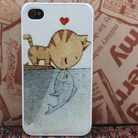 cat heart fish  iPhone 4 case iphone 4 cases iPhone 4s case iPhone cases  iphone cover personalized hard plastic iPhone case