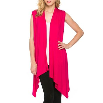 Solid Color Sleeveless Asymmetric Hem Open Front Cardigan (Fuchsia)