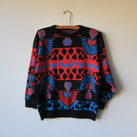 80s BOLD Red & Blue Sparkly Egyptian Art Deco Avant Garde Hipster Cosby Sweater