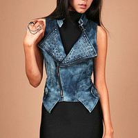 Biker Chic Vest | Trendy Denim at Pink Ice
