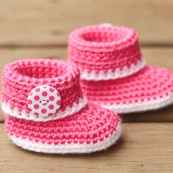 Crochet Baby Booties - Pink and White Baby Shoes - Baby Booties Baby Boots Crib Shoes- UGG Inspired