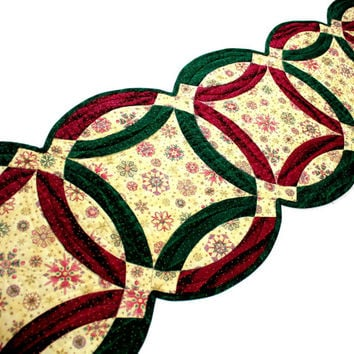 Christmas Quilted Table Runner, Double Wedding Ring Quilts in Burgundy, Forest Green and Ivory with Gold Highlights