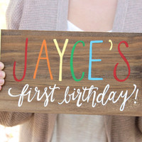 Rustic Wooden Birthday Sign // Baby's Birthday // Baby Photo Prop
