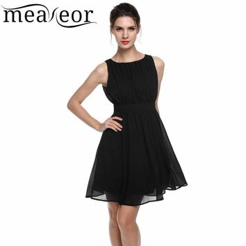 Meaneor Women Chiffon Sleeveless Draped Flare Fit Cocktail Party Dress Vestido De Mujer