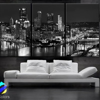 """LARGE 30""""x 60"""" 3 Panels Art Canvas Print beautiful Pittsburgh downtown city skyline Black & White Wall Home (Included framed 1.5"""" depth)"""
