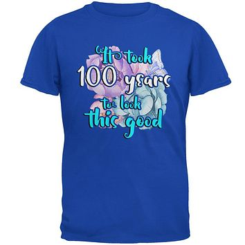 Milestone Birthday 100 Years To Look This Good Flowers Mens Soft T Shirt