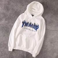 Thrasher New fashion bust blue flame letter print couple long sleeve top hooded sweater top White