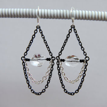 Black and Silver Chain Chandelier Earrings