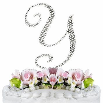 Letter Y - Crystalized Silver Cake Topper Monogram Cake Topper