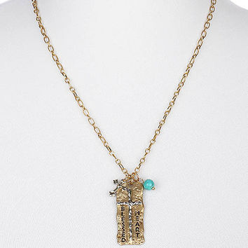 NECKLACE / HAMMERED METAL / CROSS PENDANT / MESSAGE / BLESSED HEART / NATURAL STONE BEAD / TWO TONE / AGED FINISH / ETCHED / LINK / CHAIN / 22 INCH LONG / 2 INCH DROP / NICKLE AND LEAD COMPLIANT