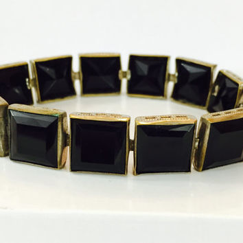 Vintage Czech Glass Bracelet Art Deco Black Faceted Cut Crystal Geometric Link Bangle Chunky Rhinestone Estate Jewelry Holiday Gift for Her