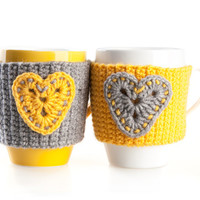 Set of 2 Hand Crocheted Mug Warmers. Cup Cozy. Yellow Gray With Hearts