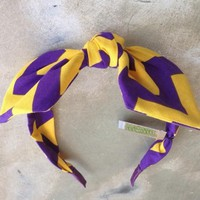 Fleurty Girl - Everything New Orleans - Purple and Gold Knotted Headband, Chevron - Just Arrived - New