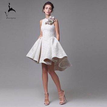 Amazing Design Lace Asymmetrical Ivory Dress Prom Sleeveless Handmade Flower Modern Ladies Party Dress Competitive Price