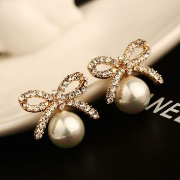 Glamour Rhinestone Bow and Pearl Ball Earrings - LilyFair Jewelry
