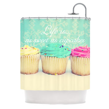 """Beth Engel """"Life Is As Sweet As Cupcakes"""" Green Shower Curtain"""