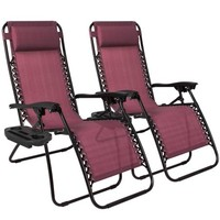 Best Choice Products Zero Gravity Chairs Case Of (2) Lounge Patio Chairs Outdoor Yard Beach- Burgundy - Walmart.com