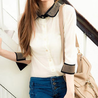 CHIC COLOR BLOCK PATCHWORK HALF SLEEVE TURN-DOWN COLLAR CHIFFON TOP WHITE S 3594