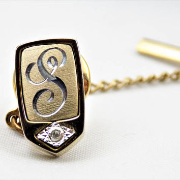 Pierre Cardin Monogram S Tie Tack, Tiny Diamond, Gold Tone Metal and Silver, Vintage Accessories