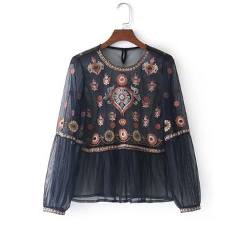 Embroidered Mesh Babydoll Blouse