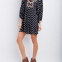 EMBROIDERED BODICE SHIFT DRESS