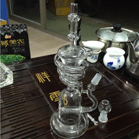 Glass Recycler spiral tall recycler rig with inline perc with 14.5mm joint and with inline perc new glass bongs for smoking glass water pipe