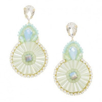 Mint Floral 3 Drop Fan Statement Earrings