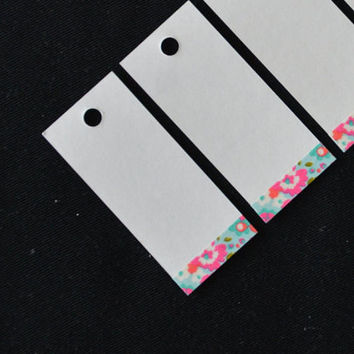 Gift tags - flower design - washi tape decorated - white gift tags - favor tags - gift wrapping  Ask a Question