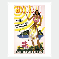 Hawaii By Air Vintage Travel Poster Print