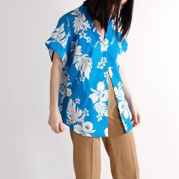 Blue Hawaii Tropical Button Down Shirt / L XL