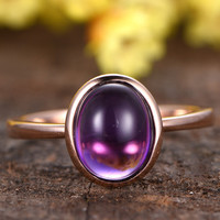Amethyst Engagement Ring Solitaire 14k Rose Gold Oval Bezel Purple February Birthstone Promise Ring