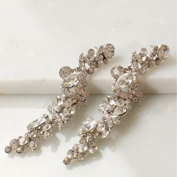 Glitzy Dangling Stone Earrings Silver
