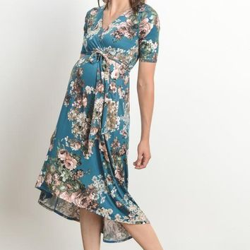 """Maeve"" Teal Floral Maternity Dress"