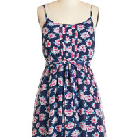 ModCloth Vintage Inspired Mid-length Spaghetti Straps A-line Painting at Daybreak Dress
