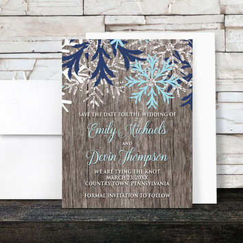 Rustic Winter Save the Date Cards - Country Rustic Winter Wood Navy Aqua Snowflake - Printed Save the Date Cards