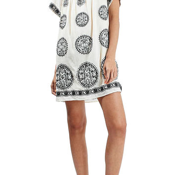 Embroidered Smock Dress