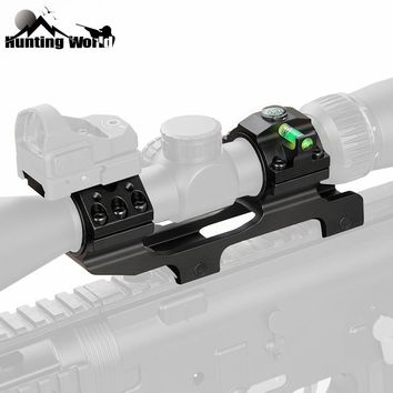 """Tactical Hunting 1""""/30mm Rifel Scope Mount Dual Ring Heavy Duty Offset Mount & Bubble Level and compass for 20mm Picatinny rail"""