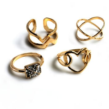 """Hearts And Diamonds"" Gold Ring Set"