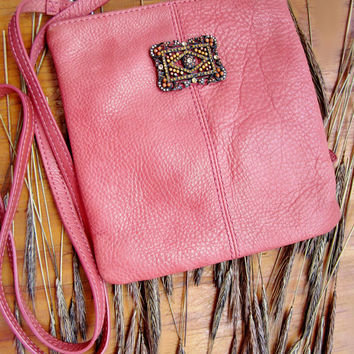 vintage purse, leather handbag, peach bag, pink purse, small purse, vintage rhinestone, recycled purse, shoulder bag