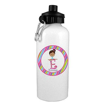Black Hair Gymnast Personalized Water Bottle